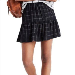Madewell Black White Windowpane Drop-waist Skirt 0